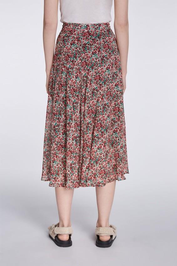 Set Midi Skirt with Poppy Print Red