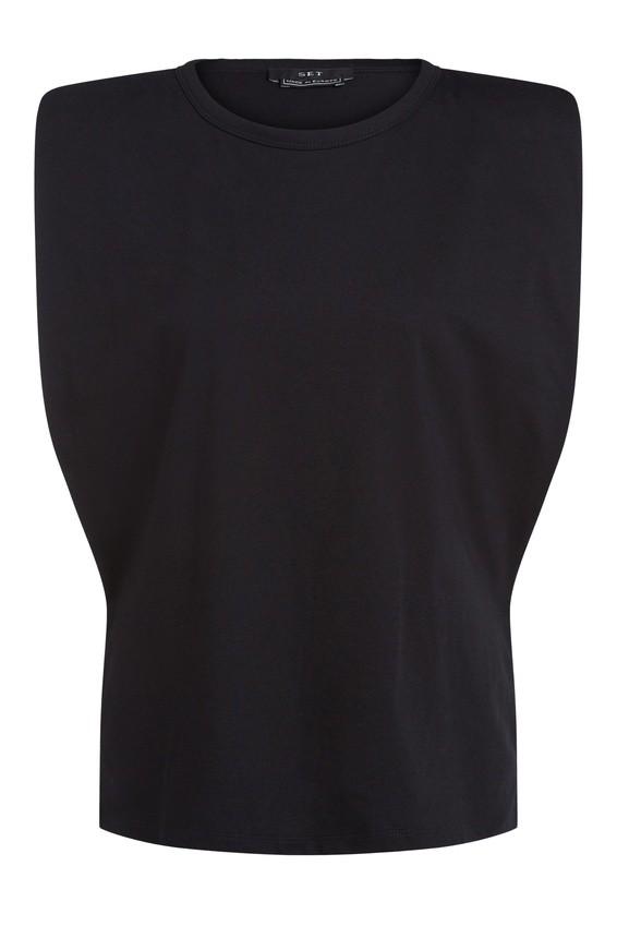 Set Padded Shoulder Top in Black Black