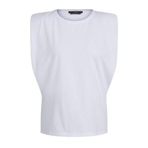 Set Padded Shoulder Top in White