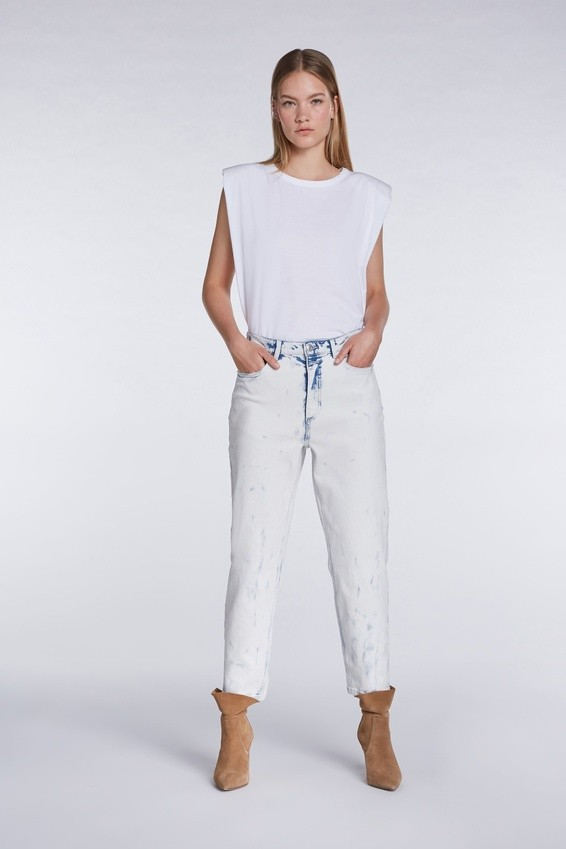 Set Padded Shoulder Top in White White