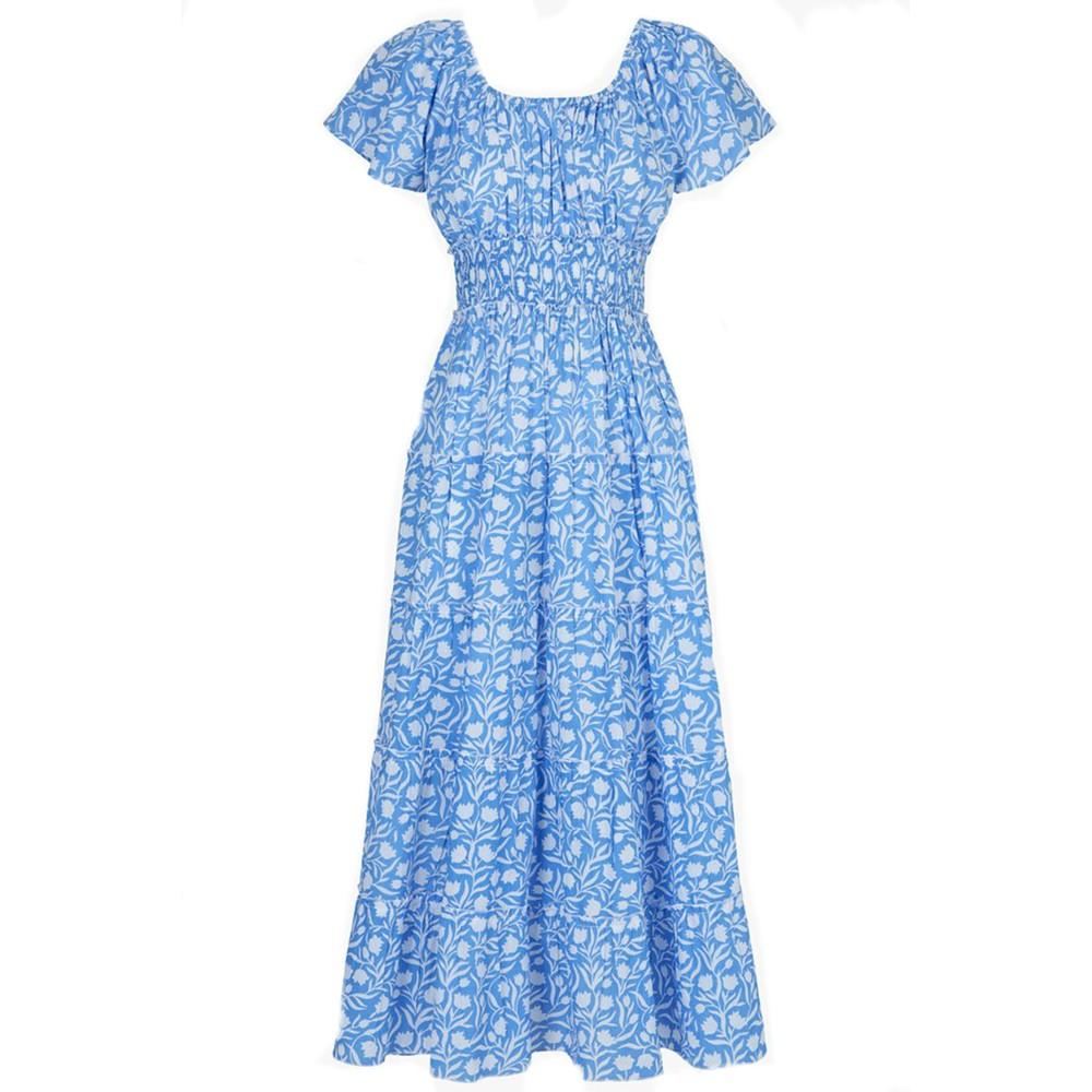Pink City Prints Rah Rah Spanish Dress in Baby Tulip Blue