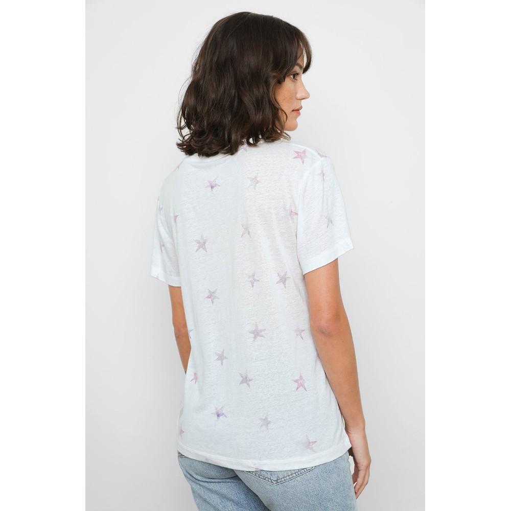 Rails Cara V Neck T Shirt in Dusk Tie Die Stars Pink