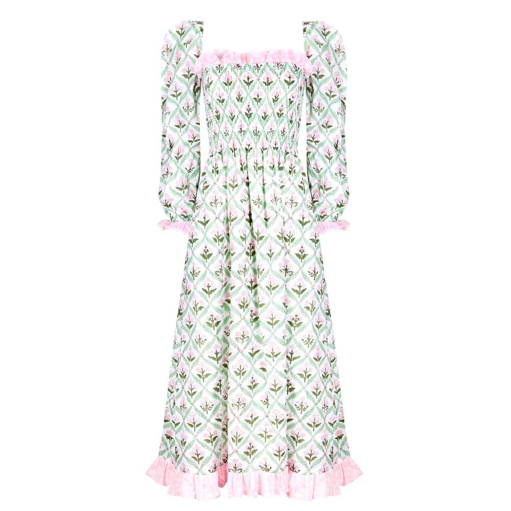 Neve and Noor Lavinia Dress in Garden Trellis Pale Pink