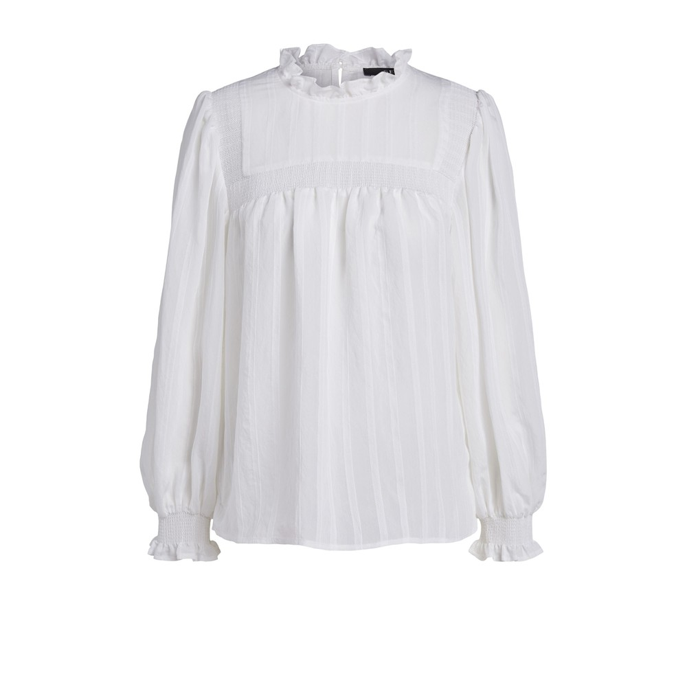 Set Smocked Blouse in White White