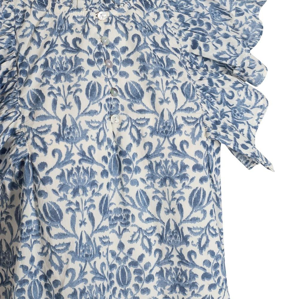 Sofie Schnoor Short Sleeve Ruffle Blouse Blue