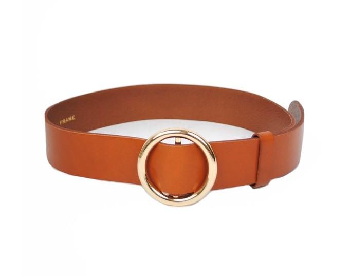 Frame Denim Le Circle Belt in Whiskey Brown