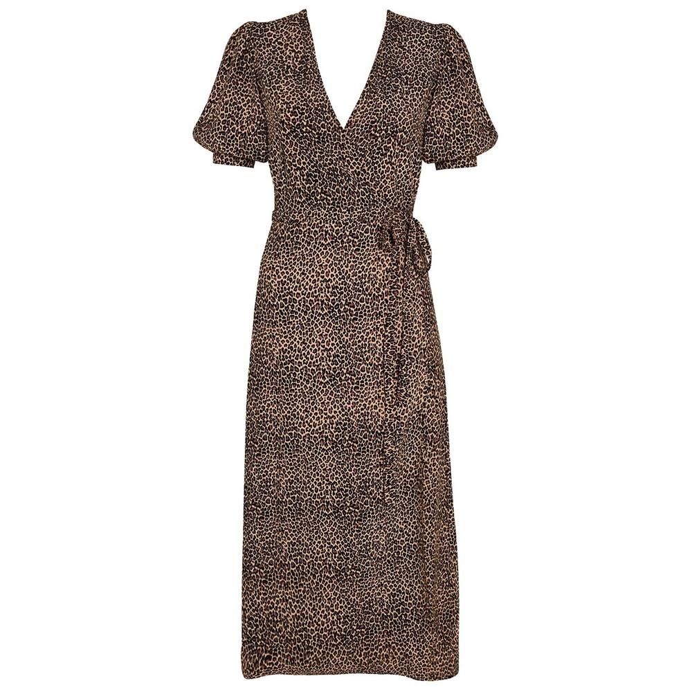 Faithfull The Brand Sumaia Wrap Midi Dress in Indi Animal Print Natural