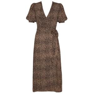 Faithfull The Brand Sumaia Wrap Midi Dress in Indi Animal Print