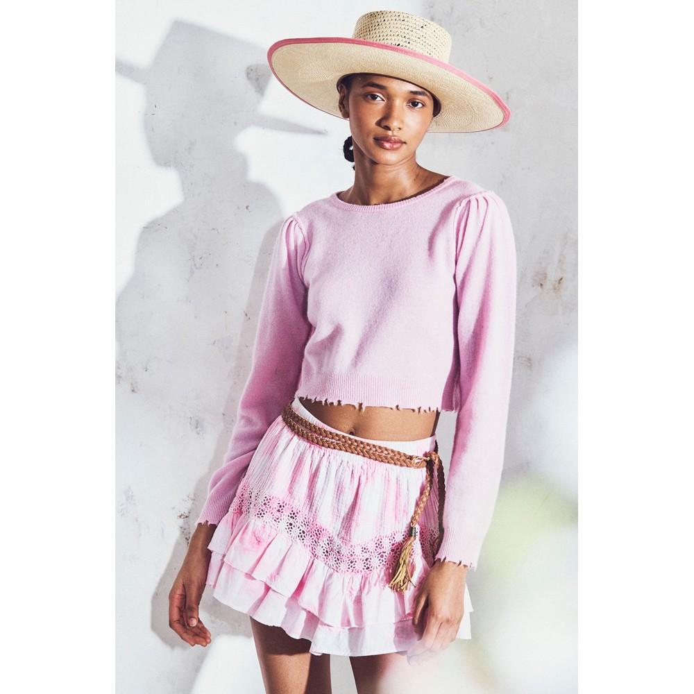 LoveShackFancy Lune Crop Pullover Pink