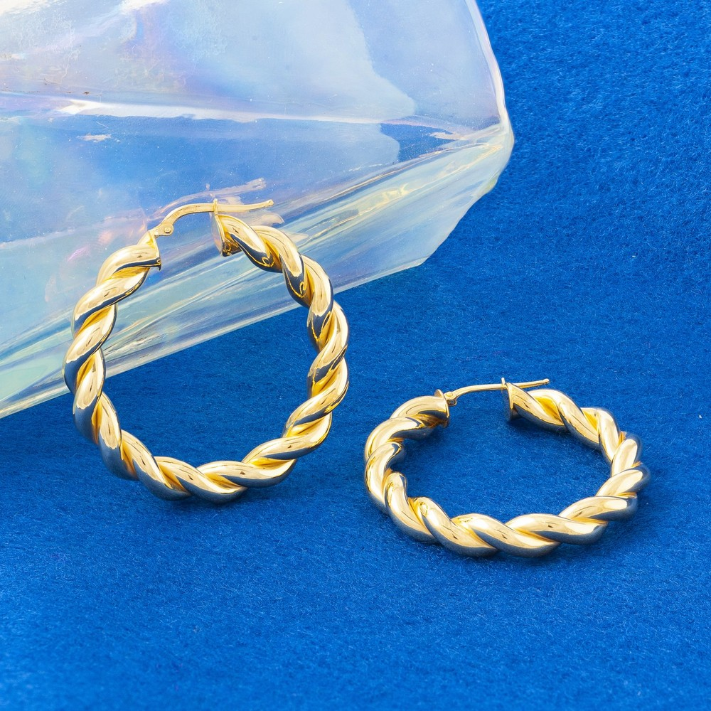 Loel & Co Jewellery Large Gold Thick Spiral Hoops Gold