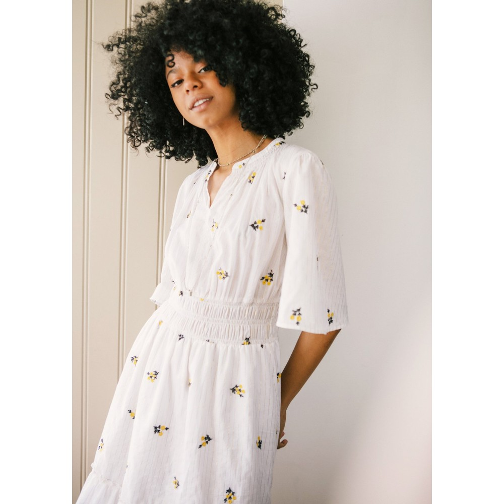 Pyrus Joni Embroidered Dress White, Silver and Gold