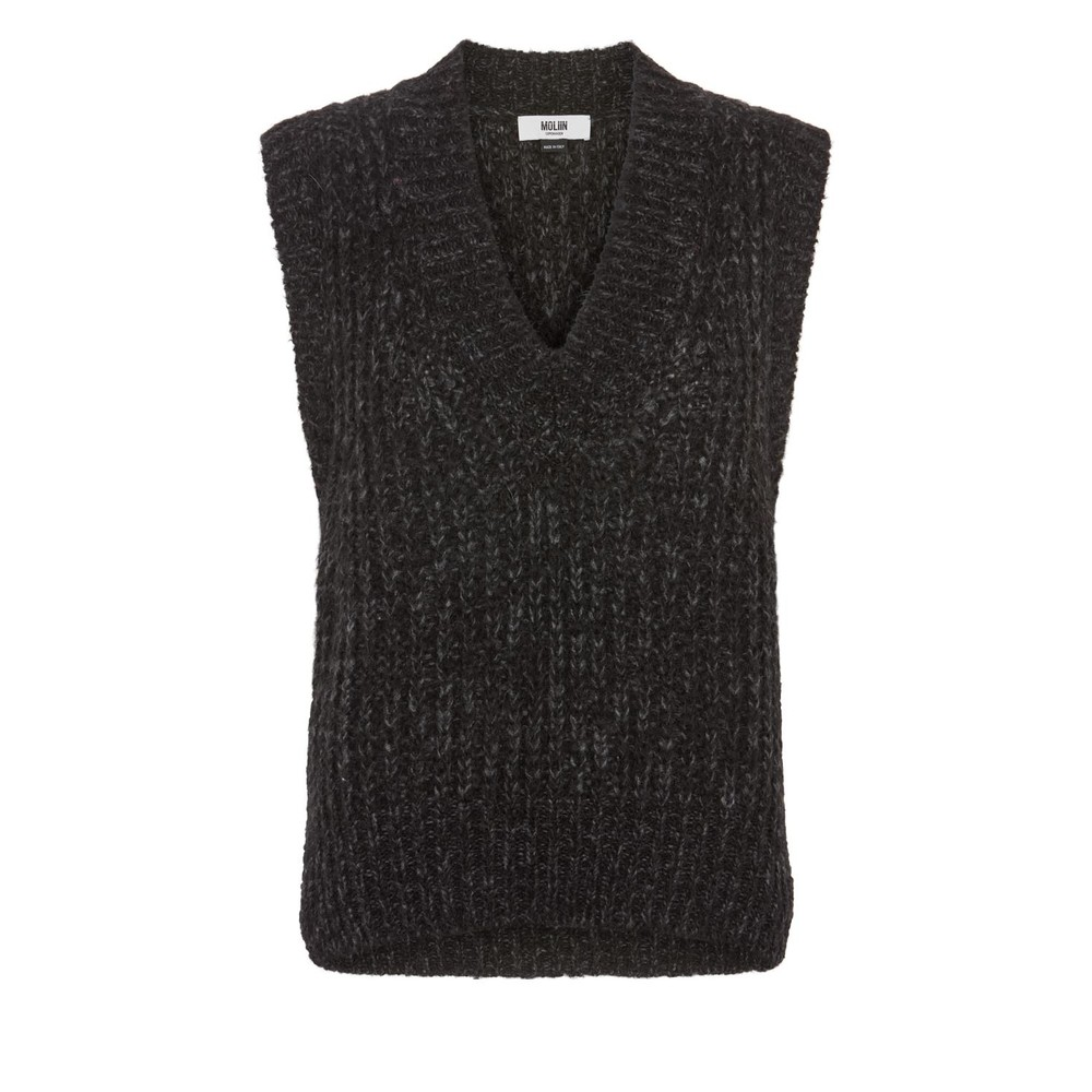 Moliin Marley Sleeveless Knit in Charcoal Black