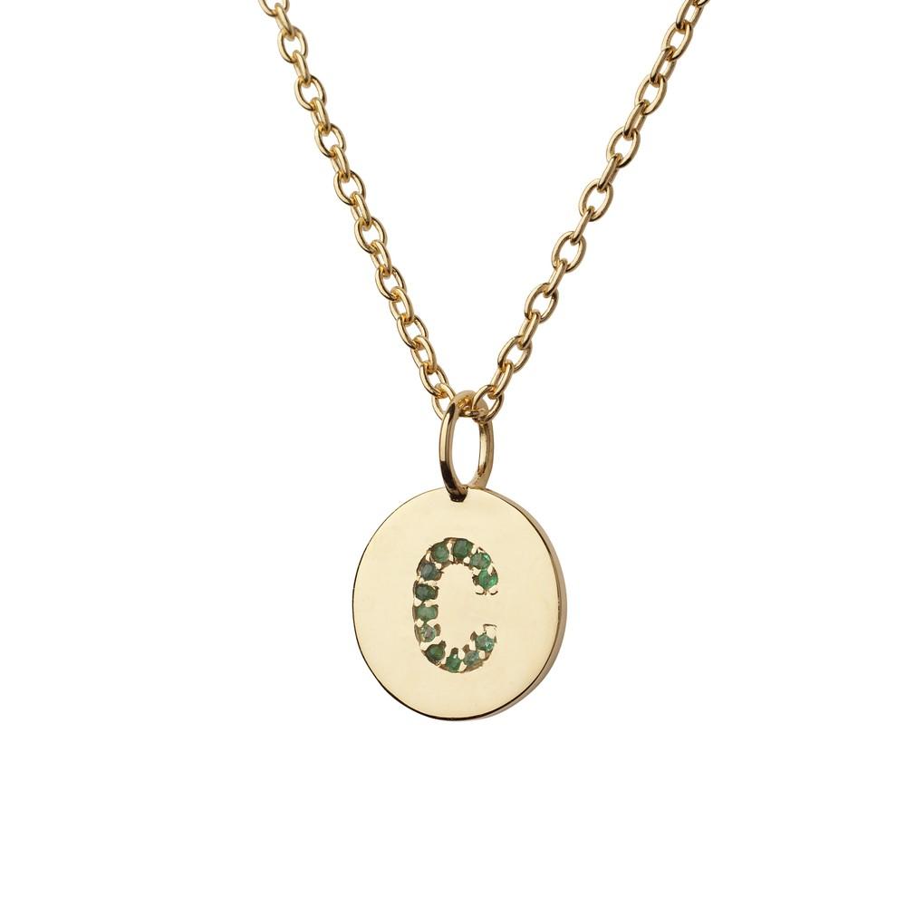 Atelier18 Alphabet Pendant C in Emerald Gold