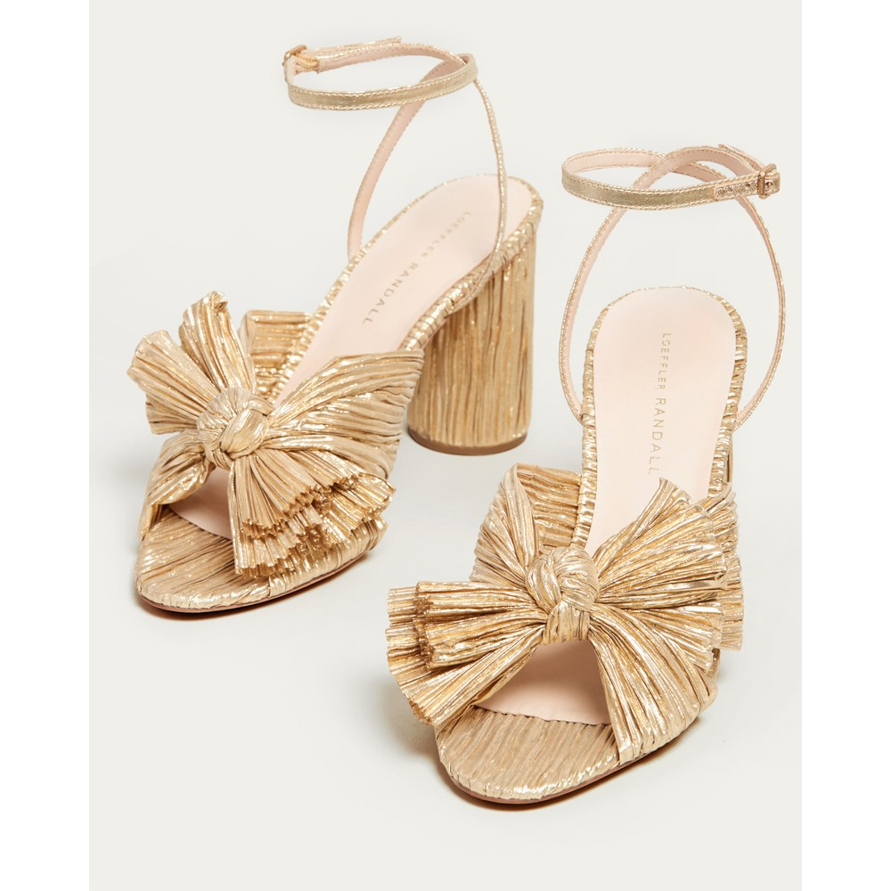 Loeffler Randall Camellia Bow Heel with Ankle Strap Gold