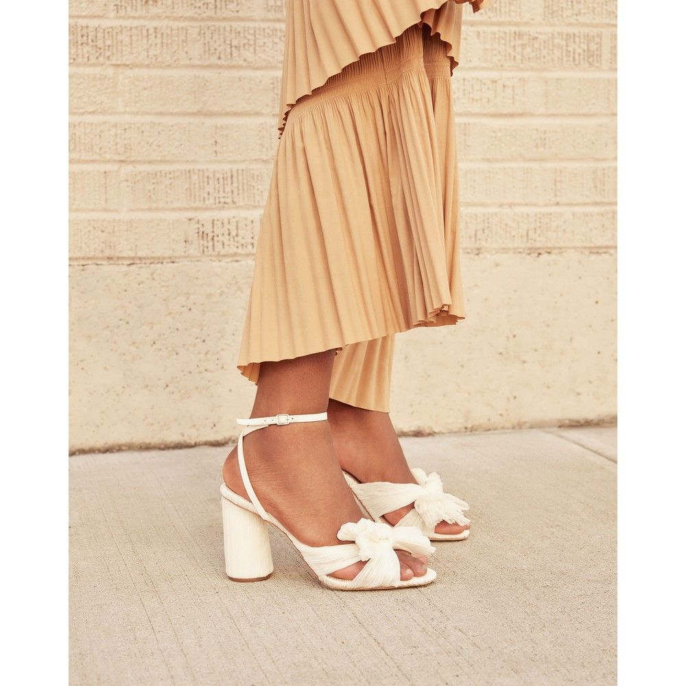 Loeffler Randall Camellia Bow Heel with Ankle Strap White