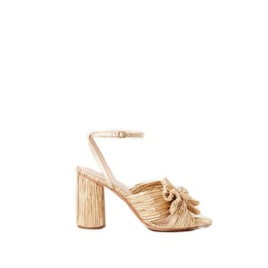 Loeffler Randall Camellia Bow Heel with Ankle Strap in Gold