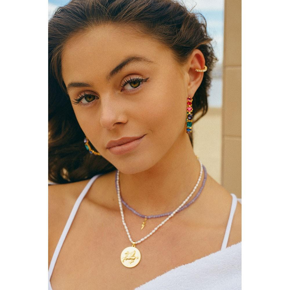 Celeste Starre Double Struck Necklace Purple