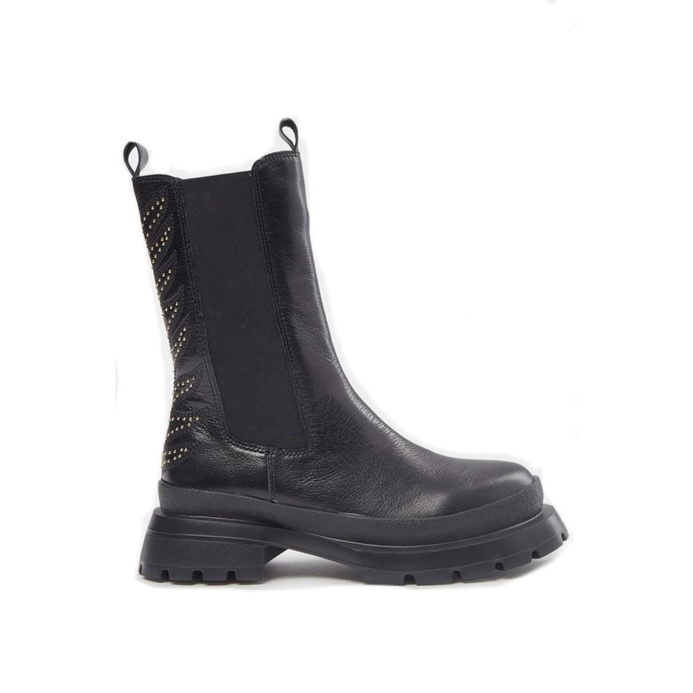 Sofie Schnoor Tall Leather Biker Boots S213772 in Black Black
