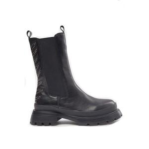 Sofie Schnoor Tall Leather Biker Boots S213772 in Black
