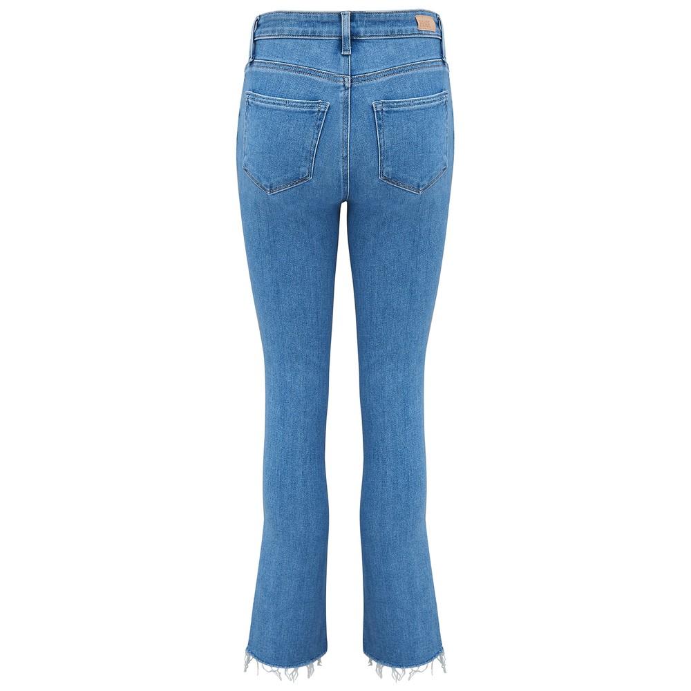 Paige Cindy Raw Hem Denim Jeans in Music Distressed Mid Denim