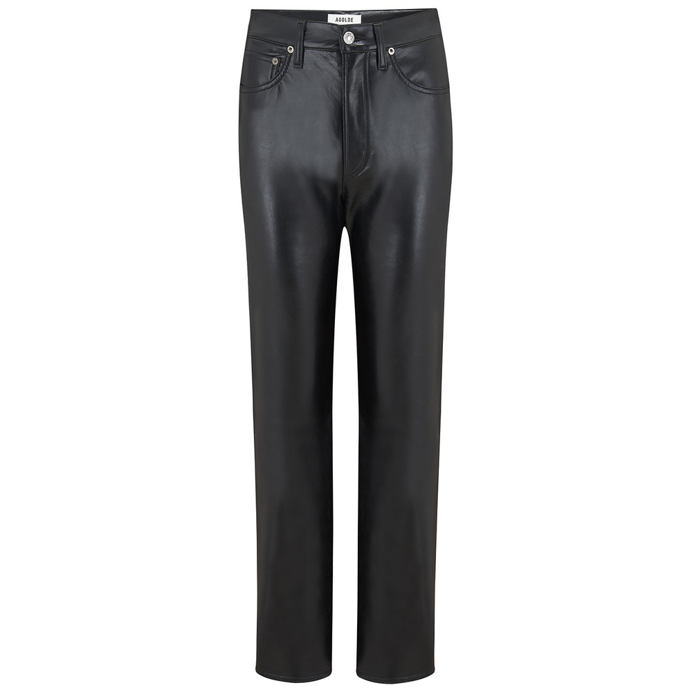 Agolde Recycled Leather 90s Pinch Waist Jeans in Detox Black