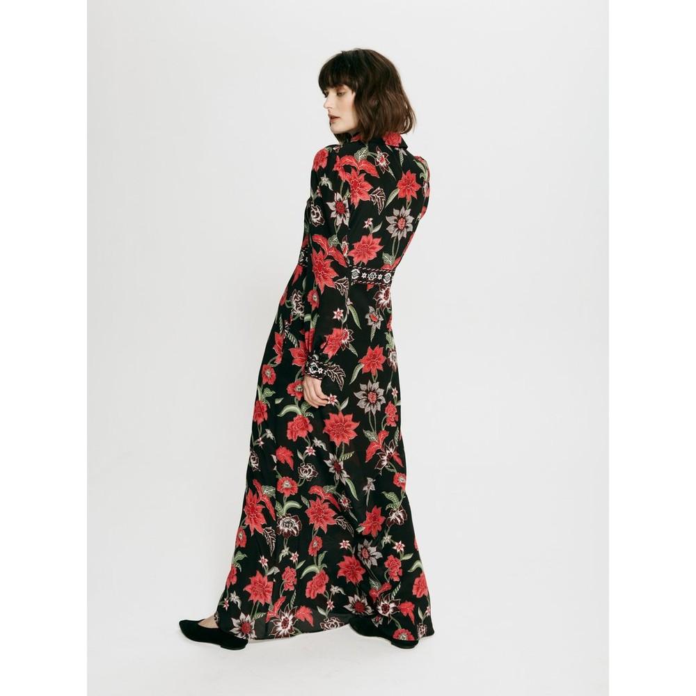 Hayley Menzies Ruby Silk Maxi Shirt Dress Black