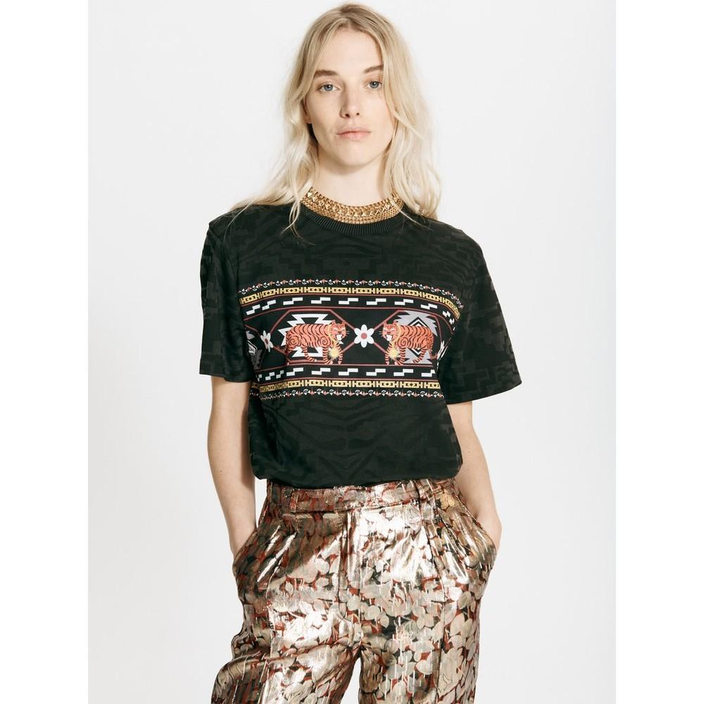 Hayley Menzies Aztec Tiger T Shirt in Dark Grey Anthracite