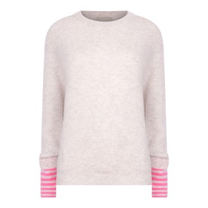 Jumper 1234 Striped Cuff Crew in White Marl and Neon Pink