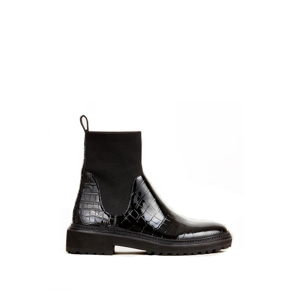 Loeffler Randall Bridget Chelsea Boots in Black Croc Black