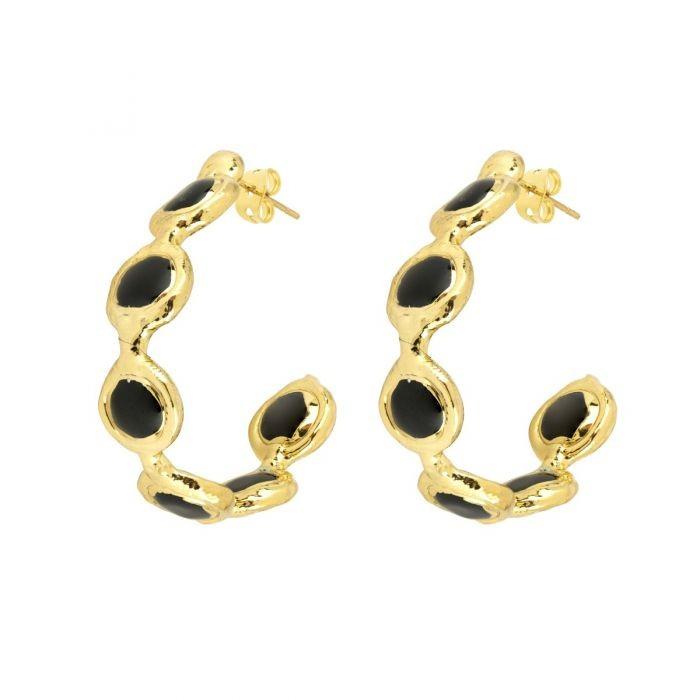 Ashiana Chloe Gemstone Hoop Earrings in Black Black
