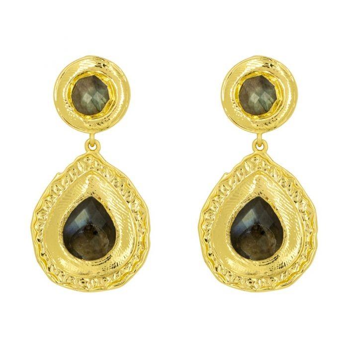 Ashiana Toscana Earrings in Labradorite Black