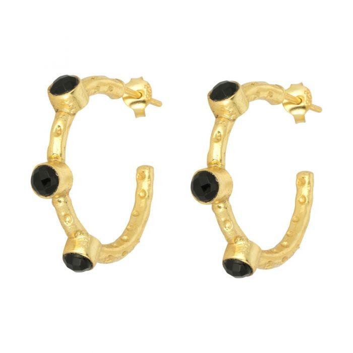 Ashiana Mini Cruise Earrings in Black Onyx Black