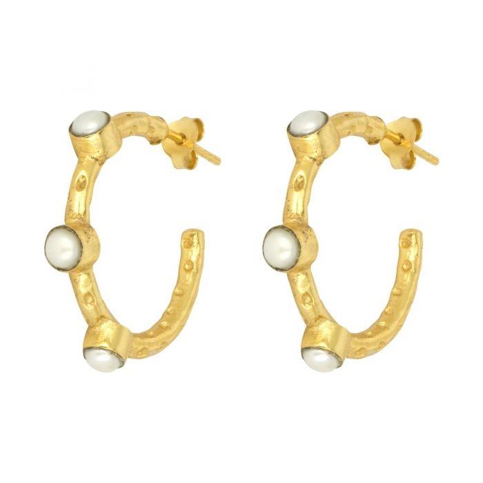 Ashiana Mini Cruise Earrings in Pearl White