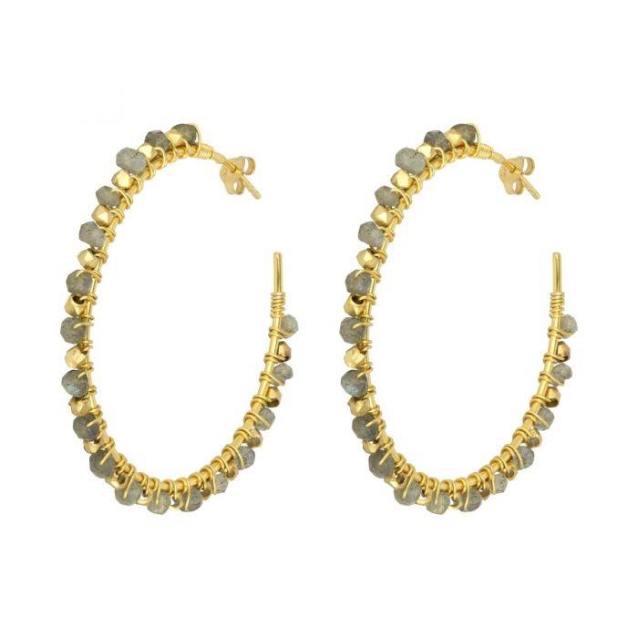 Ashiana Riva Gemstone Hoop Earrings in Labradorite Grey