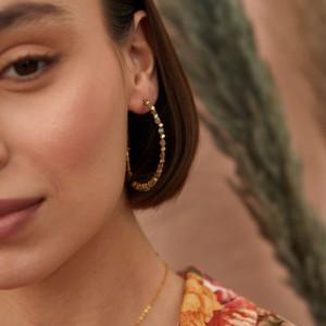 Ashiana Riva Gemstone Hoop Earrings in Labradorite