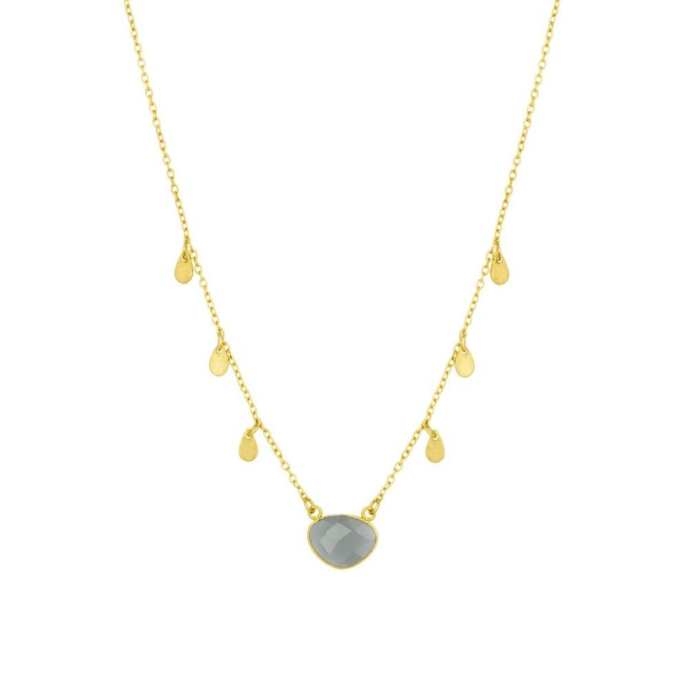 Ashiana Summer Necklace in Grey Moonstone Grey