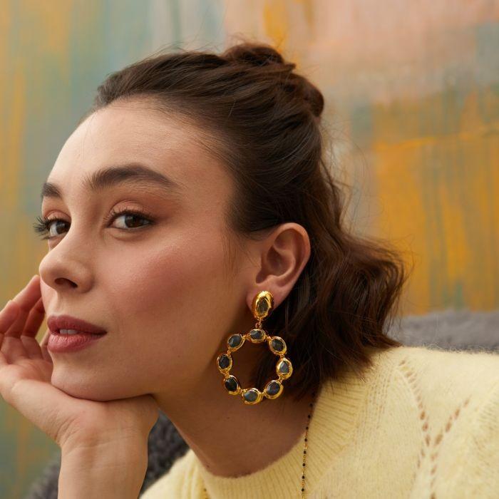 Ashiana Wanda Hoop Earrings in Labradorite Grey