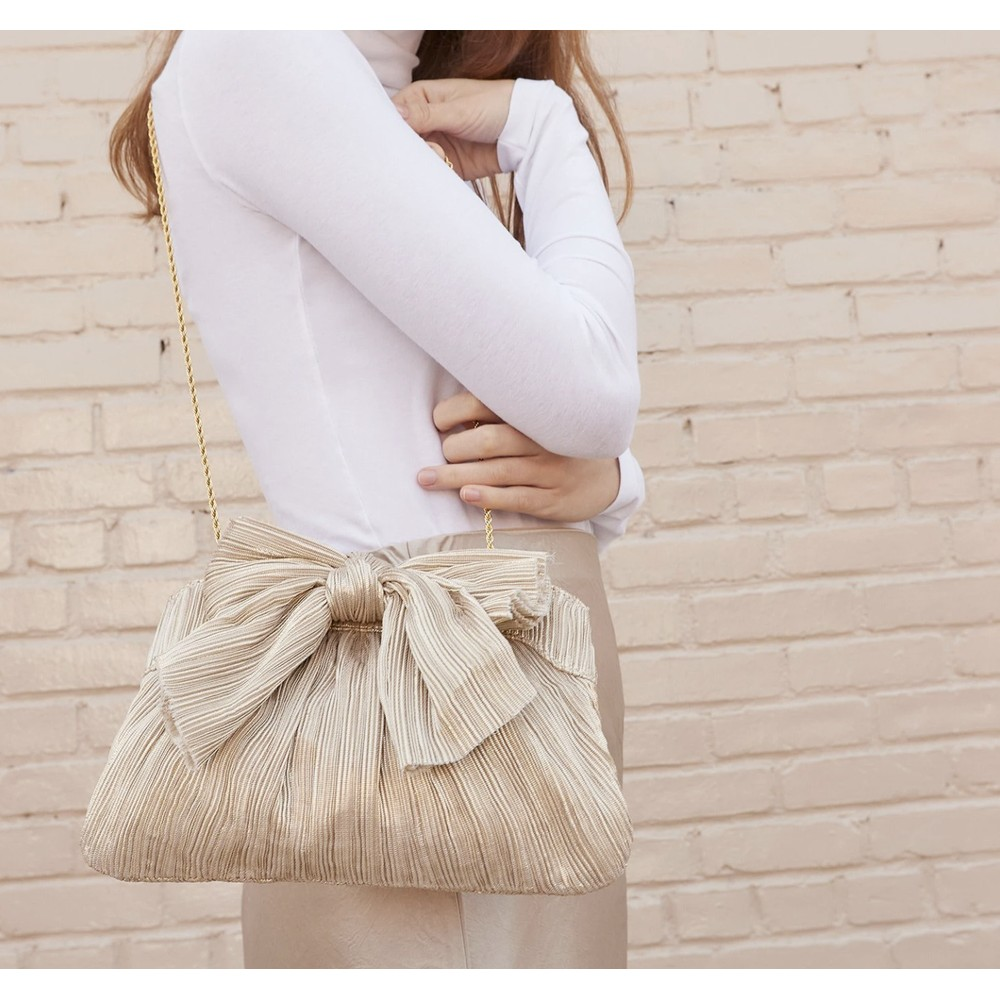 Loeffler Randall Pleated Frame Clutch With Bow in Platinum Metallic