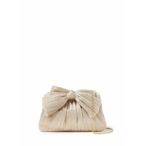 Loeffler Randall Pleated Frame Clutch With Bow in Platinum