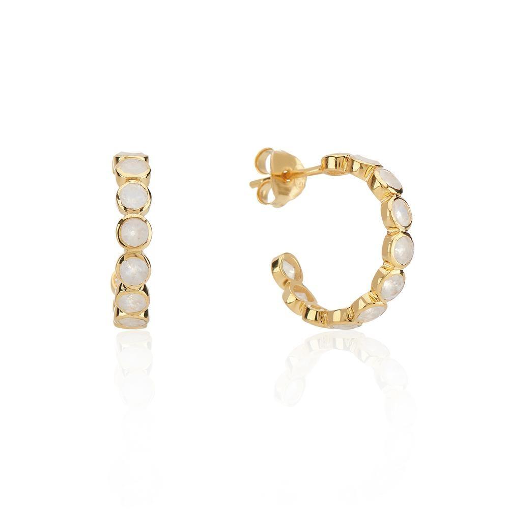Auree Ortigia Half Hoop Earrings in Moonstone White
