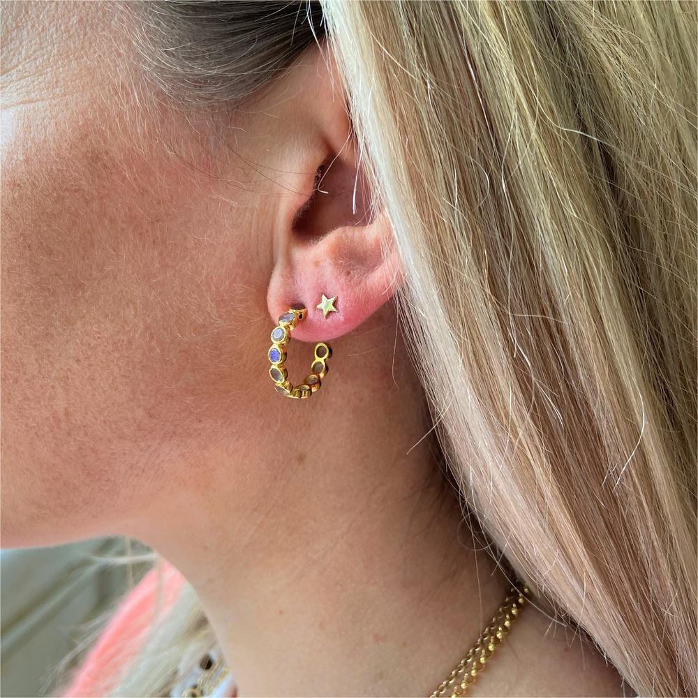 Auree Ortigia Half Hoop Earrings in Labradorite Grey