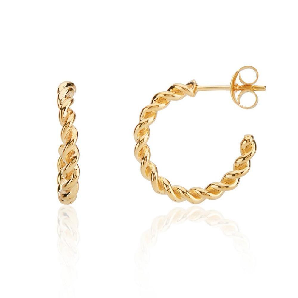 Auree Alhambra Piccolo Twisted Hoop Earrings Gold