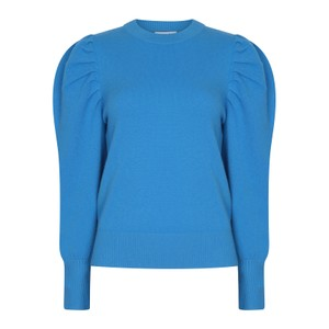 Suncoo Pacher Knitted Puff Sleeve Sweater in White in Blue