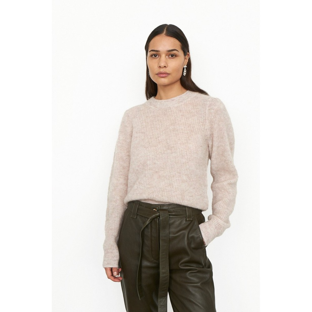 Second Female Brooky Knit Puff O - Neck Grey