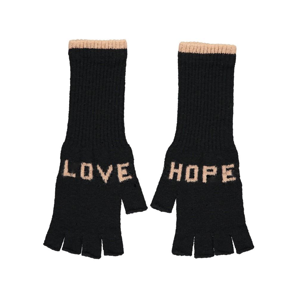 Quinton Chadwick Fingerless Gloves Love Hope in Black Black