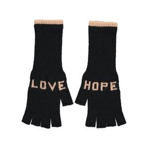 Quinton Chadwick Fingerless Gloves Love Hope in Grey in Black