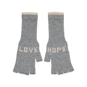 Quinton Chadwick Fingerless Gloves Love Hope in Black in Grey