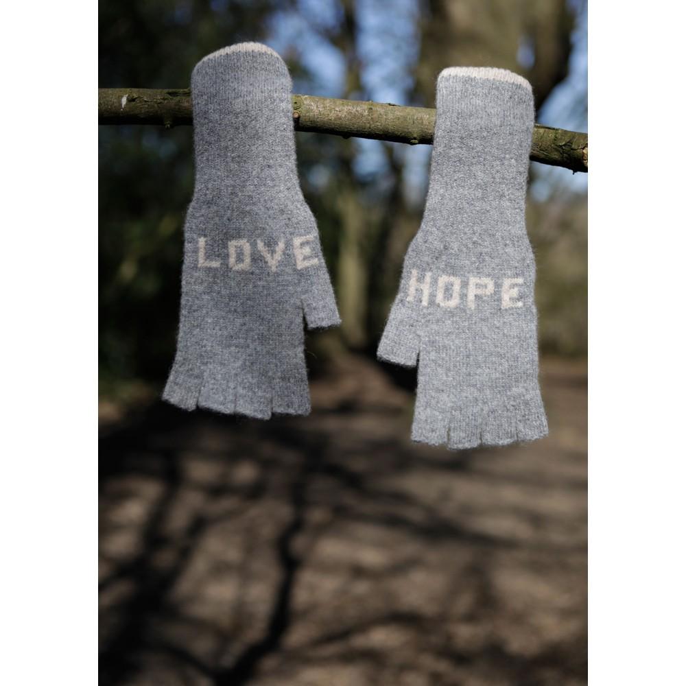 Quinton Chadwick Fingerless Gloves Love Hope in Grey Grey
