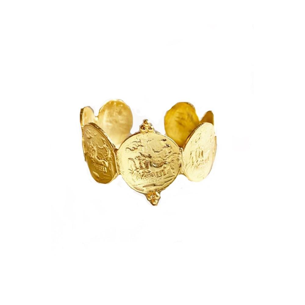Ashiana Apollo Greek Coin Cuff Gold