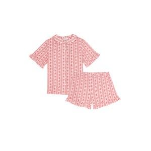 Yolke Thebe Cotton Pyjama Set in Country Stripe